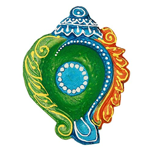 Ramya's Handpainted Earthen Terracotta Decorative Diwali Diyas - Set of 12 (7254) by Ramya
