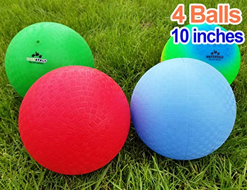 (Playground Balls 10 inch Dodgeball (Set of 4) Kickball for Boys Girls Kids Adults - Official Size Bouncy Dodge Ball, Handball, Four Square Picnic School + Free)