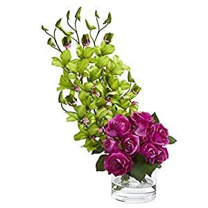 Nearly Natural 1589-GP Rose & Dendrobium Orchid Arrangement Artificial Plant Pink 86
