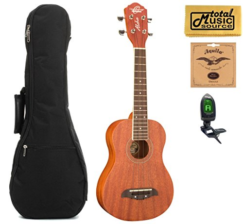 Left Hand Oscar Schmidt Concert Ukulele , Mahogany, Lefty, OU2LH, Includes: EXTRA Set of Aquila Nylgut 7U Strings, Digital Clip-On-Tuner, HP Padded Gig Bag & TMS Polishing Cloth by Oscar Schmidt