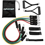 MyHomeGym Premium Resistance Band Set with Workout Videos - up to 150 pounds resistance, two handles, two ankle straps, door anchor, and carrying case, home workouts, physical therapy