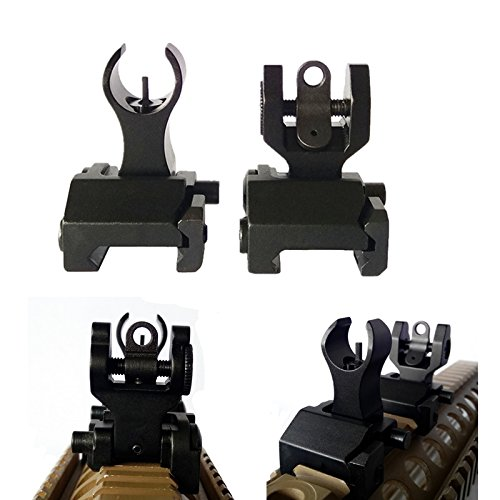 FIRECLUB 2019 Newest Arrival Tactical Flip Up Iron Sights Front and Rear Sight BUIS Set Picatinny Weaver Mount Base for Rifle ()