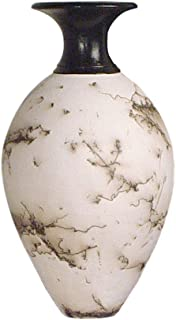 product image for American Made Horsehair Pottery Decorative Vase in White, Classic Design
