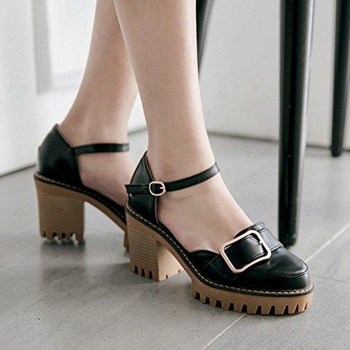 COOLCEPT Mujer Moda Al Tobillo Sandalias Cerrado Tacon Ancho Plataforma Zapatos Negro
