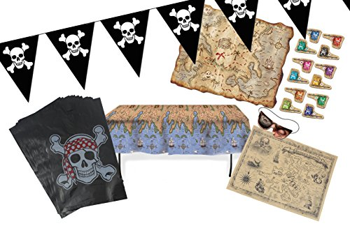 Pirate Party Table Cover (WellPackBox Pirate Birthday Party Supplies With Treasure Map Table Cover,15 Favor Bags, 12 foot Jolly Rodger Pennant, Treasure Hunt Game and Treasure Map)