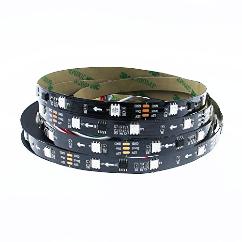 Aclorol WS2811 Addressable LED Strip 12V Digital Programmable 5050 RGB 5M 150 LED Strip Dream Color Black PCB Non-Waterproof