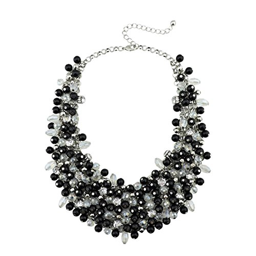 BOCAR Fashion Faux Pearl Crystal Chunky Collar Statement Necklace for Women Gift (NK-10260-black)