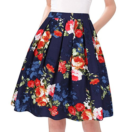 (Taydey A-Line Pleated Vintage Skirts for Women (L, Red)
