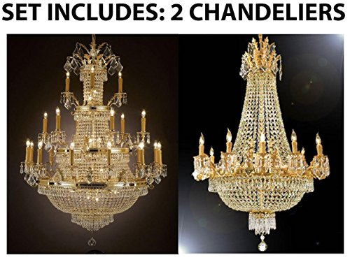 Set of 2 – 1 for Entryway/Foyer and 1 for Dining Room! French Empire Empress Crystal (TM) Chandeliers Chandelier Lighting
