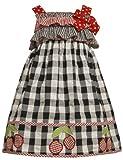 Bonnie Jean Girls 4-6X Black White Red Checkered Cherry Border Dress