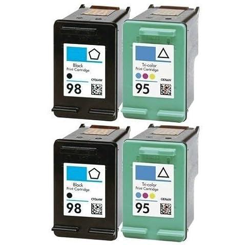 4 PACK For HP-95 For HP-98 Ink Cartridges Printer For Deskjet Officejet Photosmart (95 98 Hp Ink Cartridge)