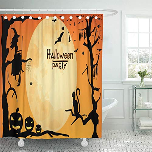 Emvency Fabric Shower Curtain Curtains with Hooks Brown Cat Halloween Party Design Witch Pumpkins Spider and Bats on Orange Moon Black Animation Autumn 66