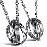 Best KONOV Friends Girl Necklaces - KONOV 2pcs Mens Womens Couples Stainless Steel Heart Review
