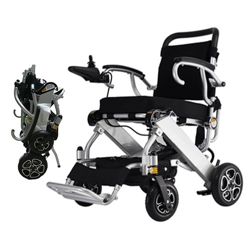 c Power Wheelchair-Lightweight 50 lbs only Heavy Duty Supports 330 lbs Aircraft Grade Aluminum Alloy Frame Foldable Wheelchair Electric Power Propelled Portable (Foldable Power Wheelchair)