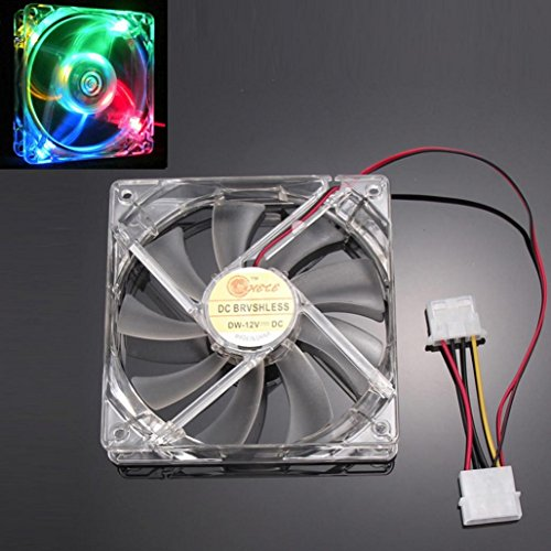 120mm 4Pin 4-LED Light PC Computer Case Neon Cooling Fan,Tuscom (Colorful)