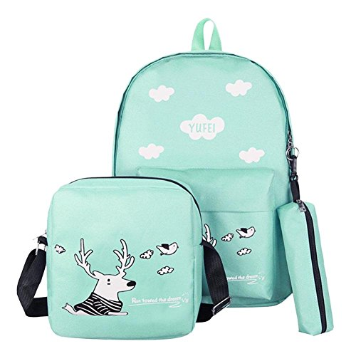 50 Mm Capacity Green - Tuankay 3pcs/Set Cartoon Print Women Canvas Backpacks Big Capacity Schoolbag (Green