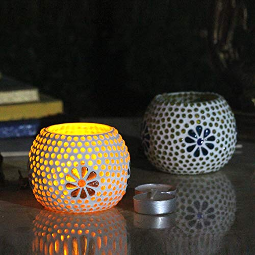 Karguzzari Crackle Glass Candle Holder Votive T Light Holder Home Décor Lighting Gift Tlight Set of 2 (VOT-87X87)