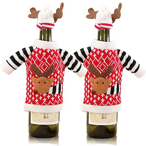 Christmas Reindeer Wine Bottle Cover, 2Pcs Knitted Ugly Sweater Covers for Christmas Decorations (Wine Sweater)