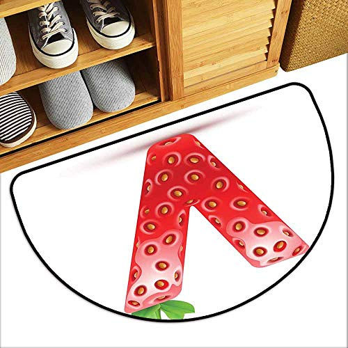 G Idle Sky Letter V Interior Door mat ABC of The Organic Life Theme Juicy Strawberry Nutrition and Nature Breathability W35 x L23 Vermilion Green Orange