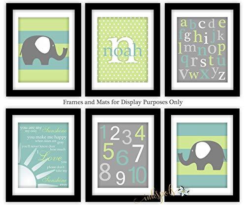 (Elephant Nursery Art Prints Jungle Animal Wall Art Safari Animals Elephant Nursery Decor - Elephant - Name and Monogram - ABC 123 - You Are My Sunshine - Baby Boy Elephant Baby Shower Decor EH5801)