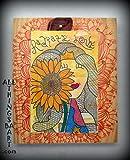 Radiate Love, reprint of original mixed media artwork on wood.