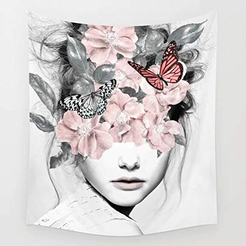 - QCWN Woman Tapestry, Young Beautiful Woman with Butterfly Floral Blindfolded Art Print Tapestry for Home Decor.Multi 59x51Inc