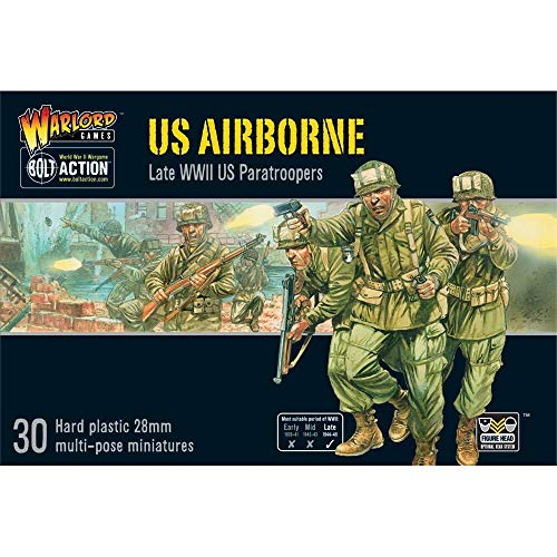 - Bolt Action US Airborne Paratroopers 1:56 WWII Military Wargaming Figures Plastic Model Kit