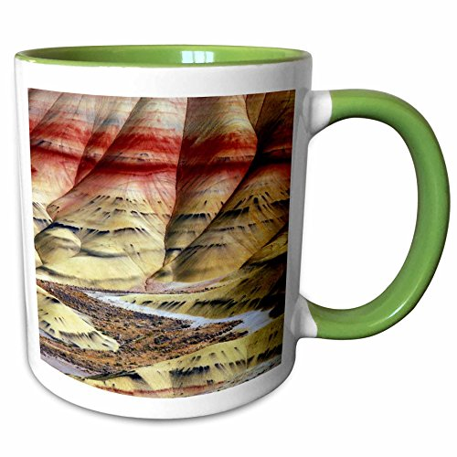 3dRose Danita Delimont - Michel Hersen - Hills - Painted Hills, John Day Fossil Beds, Mitchell, Oregon, USA - 15oz Two-Tone Green Mug (mug_191624_12)