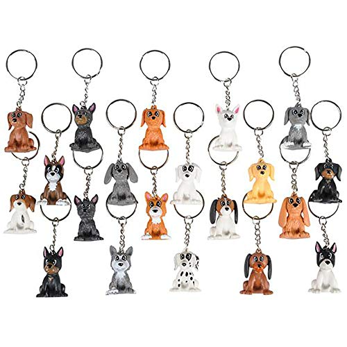 1.5 Puppy Keychain - 20 Pack Mini Backpack Hook - Keyring for Bag and Belt Loop Accessory, Back to School Item, Arts & Crafts, Animal Clinic Decor, Party Favors