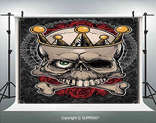 Background Skull with Crown Roses Bones Dead King Halloween Illustration 3D Backdrops for Interior Decoration Photo Studio Props]()
