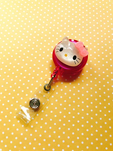 DECO FAIRY Cute White Meow Kitty Cat Decorated Retractable Badge Reel ID Holder with Clip Backing -