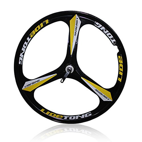 MTBリム24/26インチマウンテンバイクホイール3スポークマグネシウムアルミ合金自転車リムベアリングタイプサポートクイックリリース B07D8MJLMM 26インチ|黒黄 黒黄 26インチ