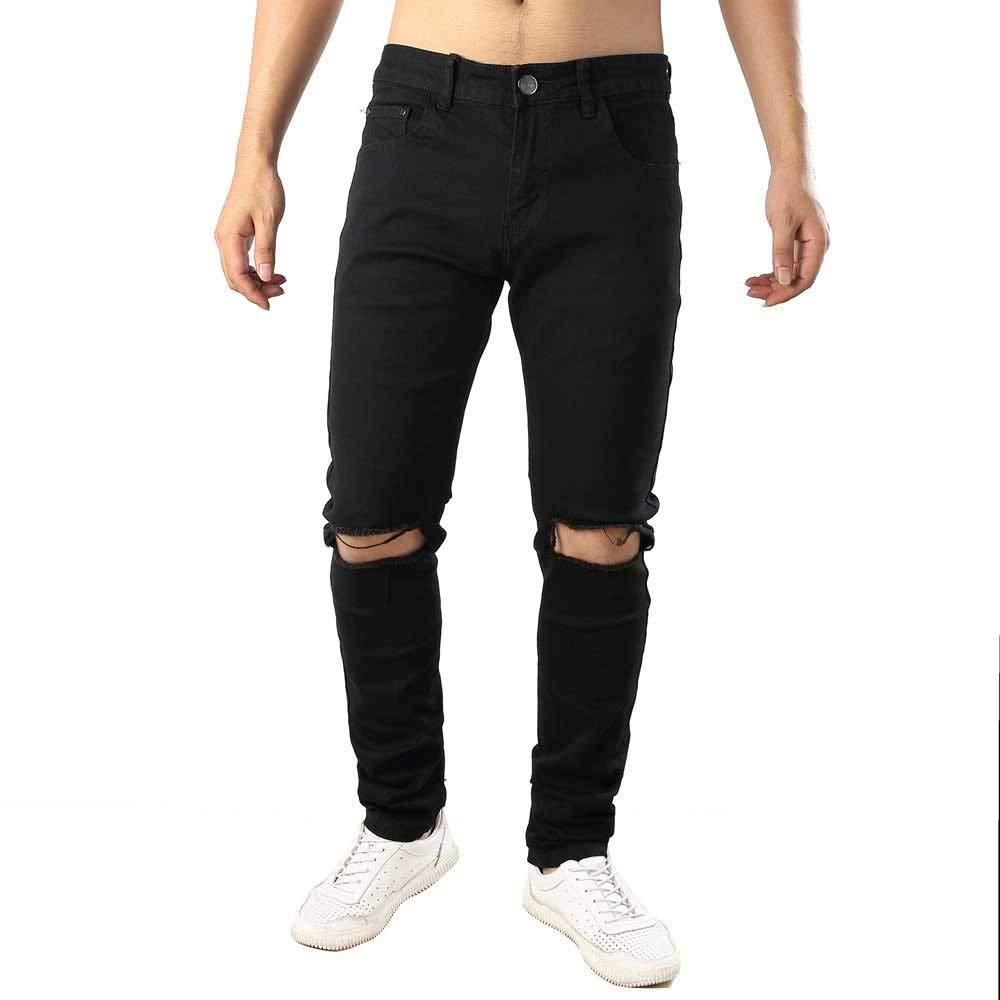PASATO Men's Casual Autumn Denim Cotton Straight Ripped Hole Trousers Jeans Pants, Clearance Sale(Black, 36