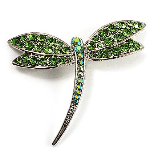 Swarovski Crystal Dragonfly Brooch - Avalaya Classic Grass Green Swarovski Crystal Dragonfly Brooch (Silver Tone)