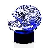 DB.WOR Football Helmet Night Light - Colorful LED Lamp 7 Color Change Optical Illusion Touch Table Desk Lamp Birthday Gift for Men Boyfirend Boy Kid Baby Son