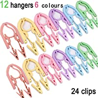 YOUOWO Travel Hangers with Clips Portable Folding Clothes Hangers 12 pcs with 24 pcs Hanger Clips for Scarves Suits Trousers Pants Shirts Socks Underwear Travel Home Foldable Clothes Drying Rack