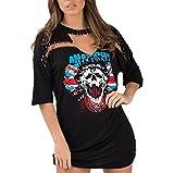 Search : YunPeng Women's Halloween Fashion V Neck Half Sleeve Choker Skull Print Punk T-Shirt Dresses