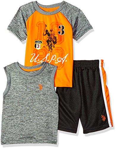 Kids Printed T-shirts - U.S. Polo Assn. Boys' Little T-Shirt, Tank and Mesh Short Set, USPA Printed Orange, 7