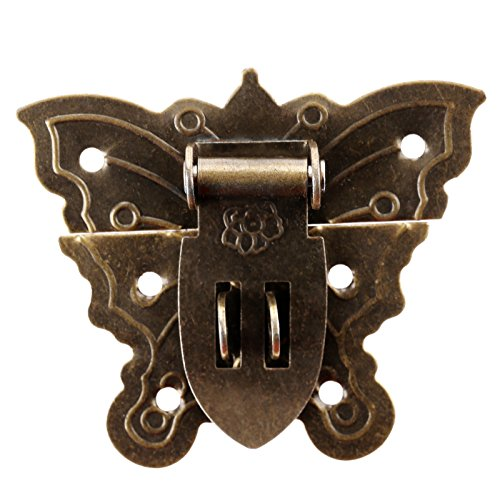 Dophee 1Pc 60x51mm Antique Butterfly Style Buckle Latch Hasp Hardware Padlock for Small Box Cabinet Jewelry Box