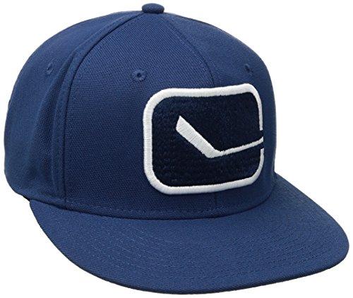 - NHL Vancouver Canucks Men's SP17 Oversized Logo Flat Visor Flex Cap, Blue, Small/Medium