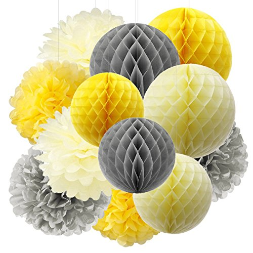 Furuix Tissue Paper Pom Pom Yellow Grey Cream Tissue Paper Honeycomb Balls Paper Lanterns for Bridal Shower Birthday Decorations/Wedding Party Decor You are My Sunshine Baby Shower -