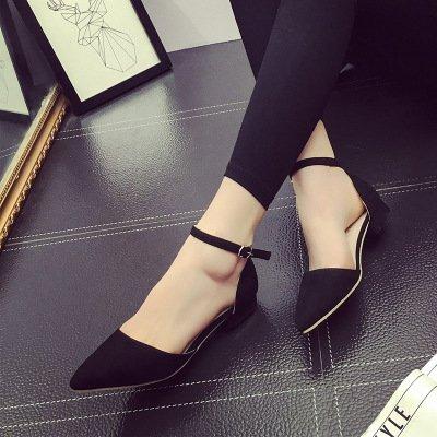 yalanshop Raue Schuhe, Sandalen, scharfe Tipps, Flach, Mattierte Studenten, Baotou  F眉nfunddrei?ig|Flat heel black 2CM