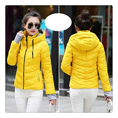 (Hngchangji 2018 Hooded Women Winter Jacket Short Cotton Padded Womens Coat Autumn Casaco Feminino Inverno Solid Color Parka Stand Collar Yellow-Hood XXXL)