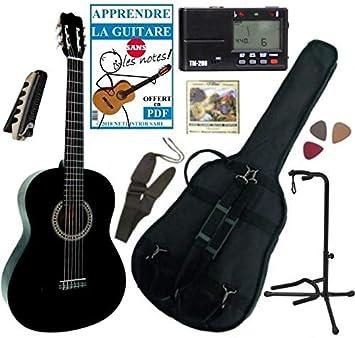Guitarra clásica 4/4 para adulto con 7 accesorios (negra): Amazon.es: Instrumentos musicales