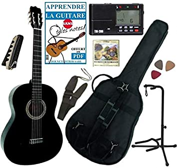 Guitarra clásica 4/4 para adulto con 7 accesorios (negra): Amazon.es ...
