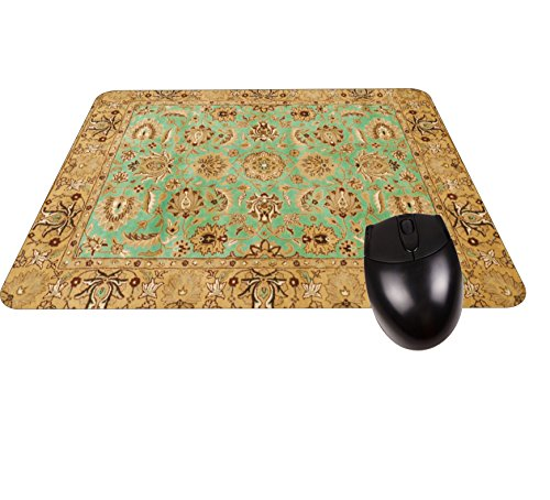 (Gold and Green Oriental/Persian Rug-Mat- Square Mousepad -Stylish, Durable Office Accessory Made in the USA)