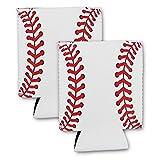 Baseball Beer Can Cooler Neoprene Collapsible Holder Insulator Sleeve (2 Count)