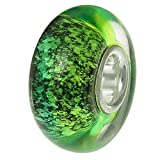 Dreambell 925 Sterling Silver Green Metallic Foiled Round Glass Bead for European Charm Bracelets