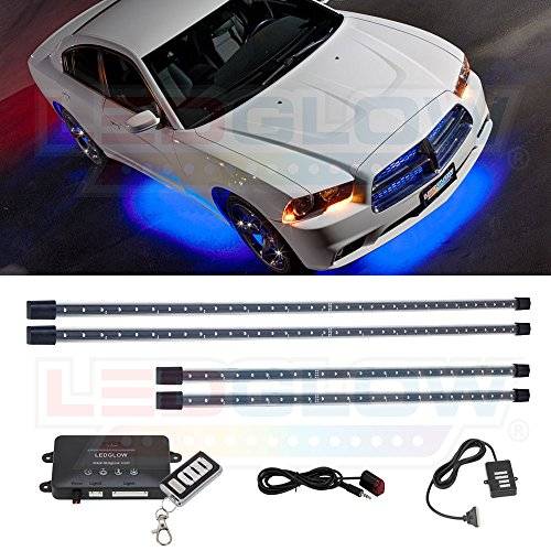 LEDGlow 4pc Blue LED Underbody Underglow Car Light Kit - Includes Wireless Remote - Music Mode - Clear Angled Mounting Brackets