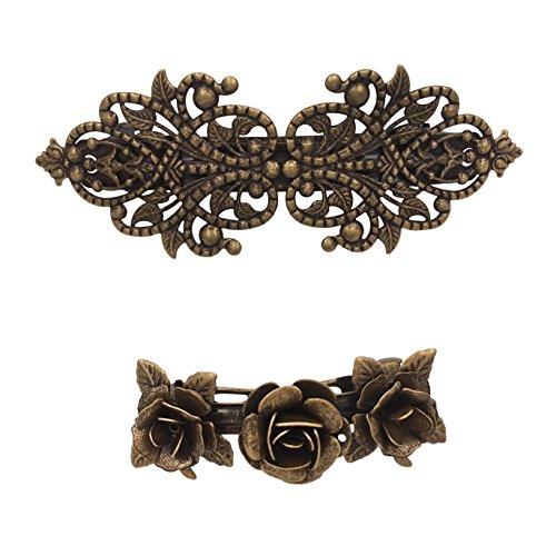 2PCS Retro Vintage Metal French Barrette Clip Hair Clasp Roses Bronze Accessories